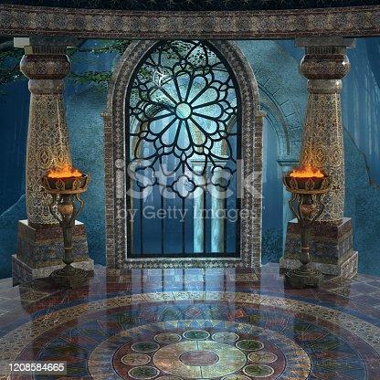 914134406 istock photo Magic altar on a blue backdrop 1208584665