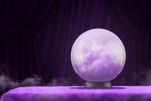 Magic ball on purple table stock photo