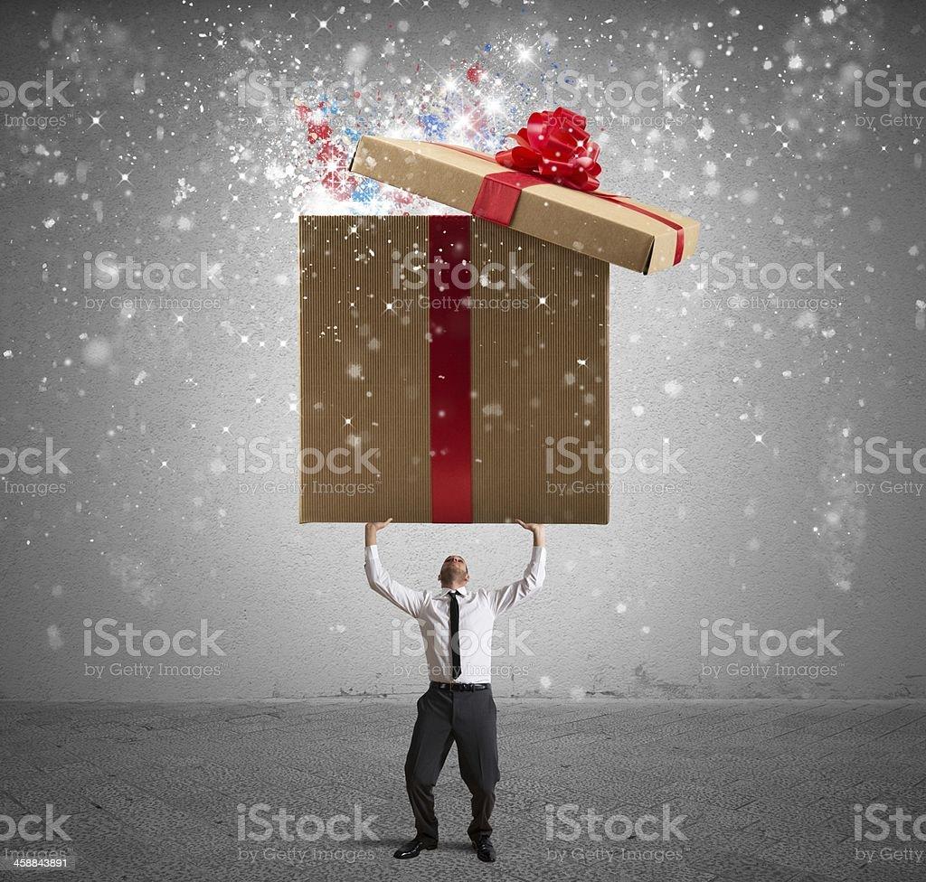 Magic big present stock photo