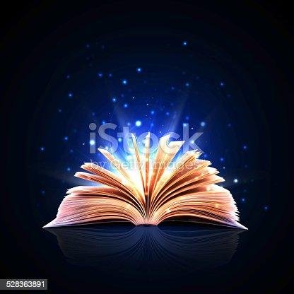 873333822istockphoto Magic book with magic lights 528363891