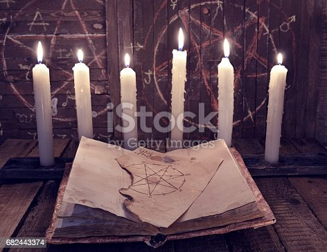 811119304 istock photo Magic book with pentagram and evil candles for occult ritual 682443374