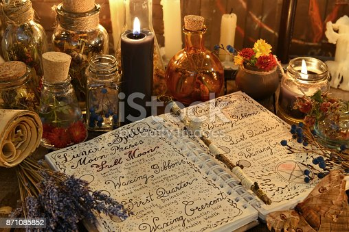 811119304 istock photo Magic book with spells, lavender bunch and black candle 871085852