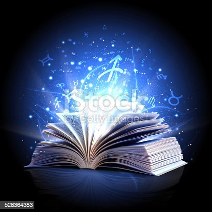528389419 istock photo magic book with zodiac symbols 528364383