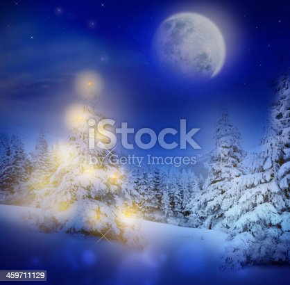 865140324 istock photo Magic Christmas or New Year night in snowy forest 459711129
