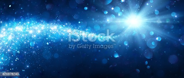 istock Magic Christmas Star With Shiny Trail 620378240