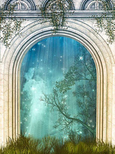 magic tür - waldmalerei stock-fotos und bilder