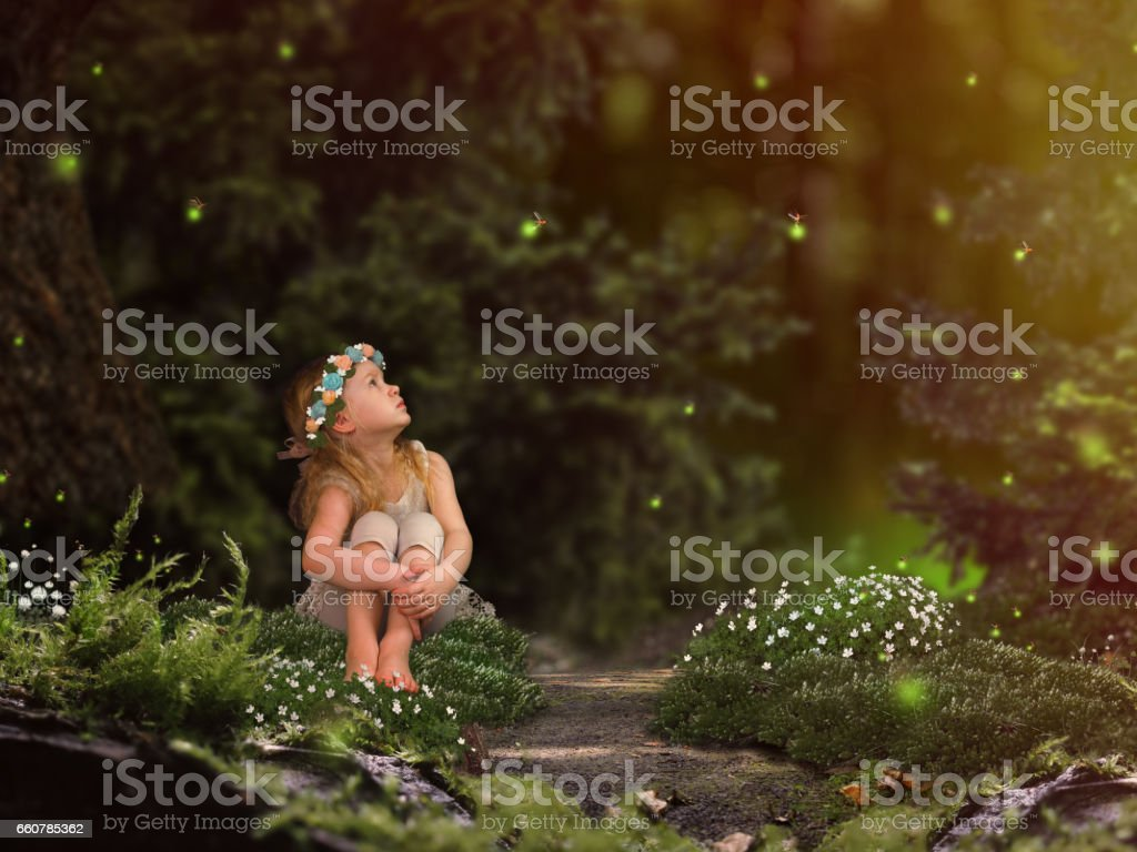 Magic fairy forest. A small child watching fireflies. A fairy tale for children stock photo
