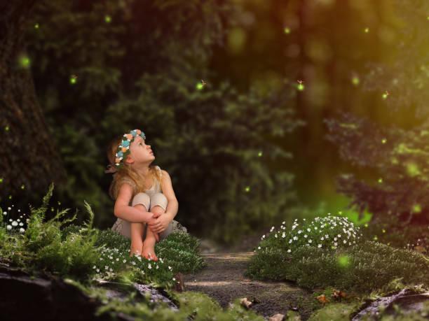 magische feenwald. ein kleines kind glühwürmchen beobachten. ein märchen für kinder - fee stock-fotos und bilder