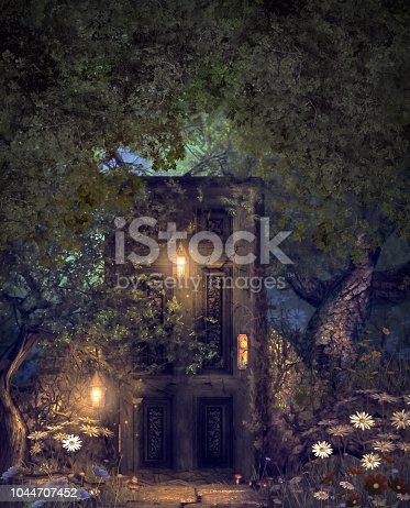 Concept of a magic fantasy world forest with a hidden door illuminated by lanterns, 3d render mixed media