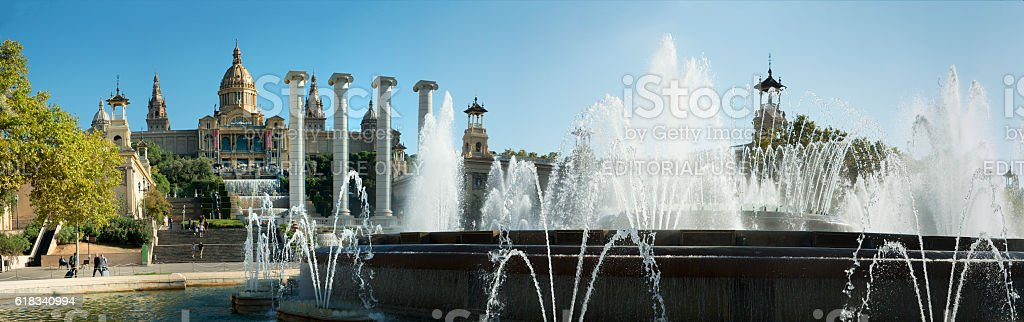 Magic Fountain  and Museum of natianal art in Barcelona, Spain stock photo