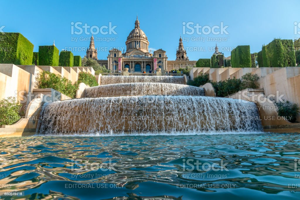 Magic Fountain and Museum of national art in Barcelona, Spain stock photo