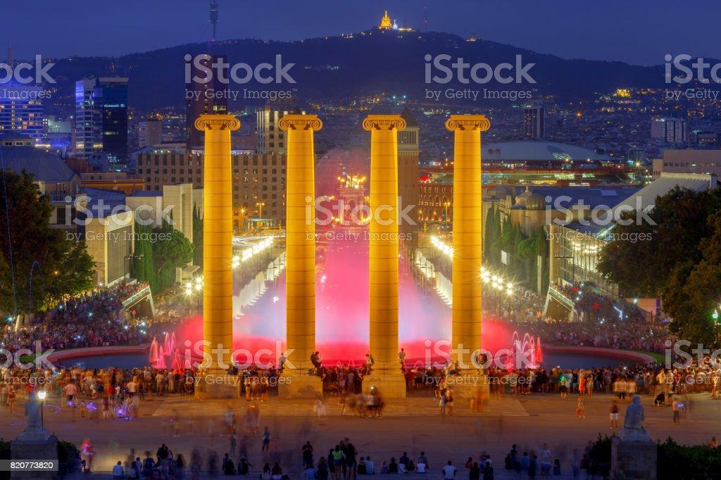 Magic Fountain in Barcelona. stock photo