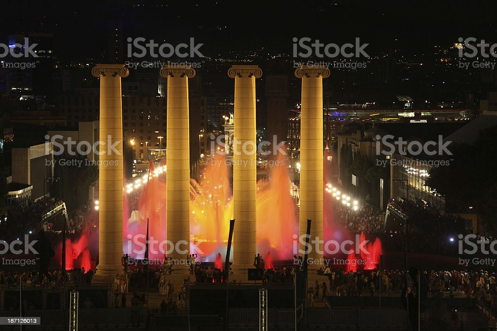 Magic fountain with columns at night , Barcelona stock photo