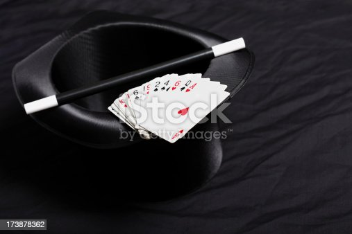 Magician's top hat with magic wand and cards