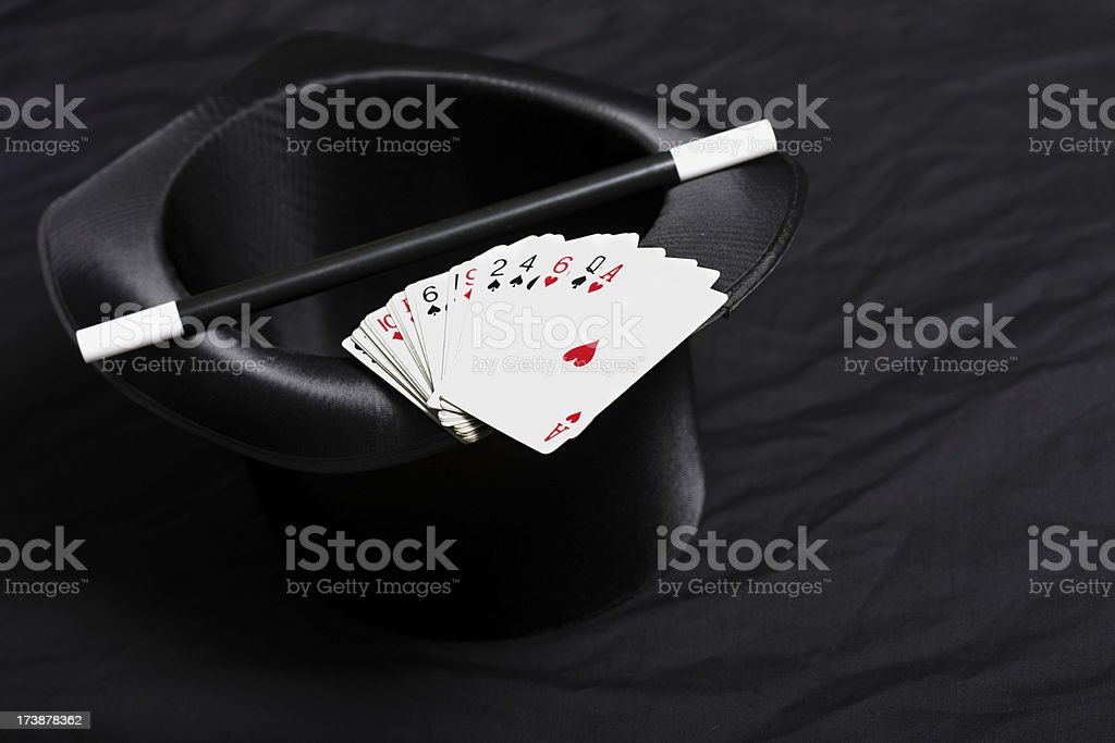 Magic Hat, Cane and Cards stock photo
