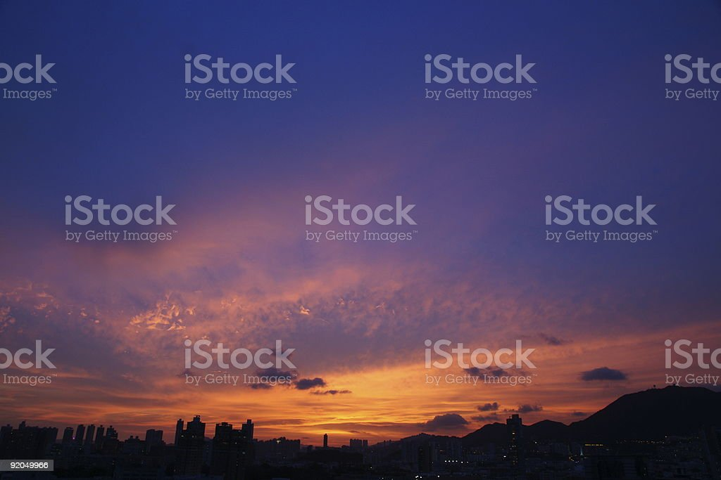 Magic Hour in Hong Kong stock photo