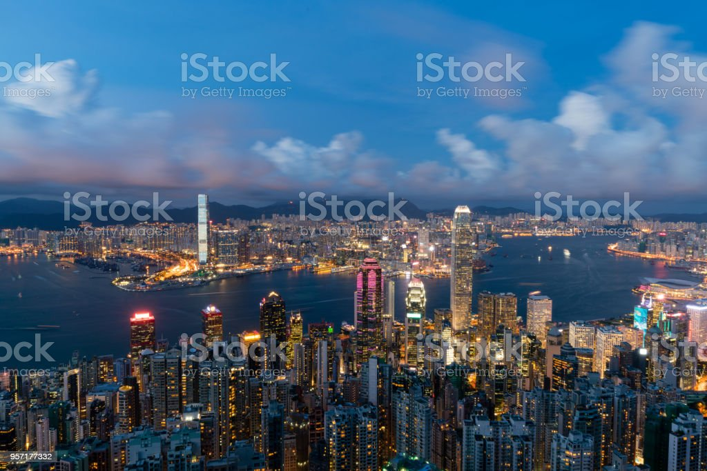 Magic hour of Victoria harbour Hong Kong stock photo