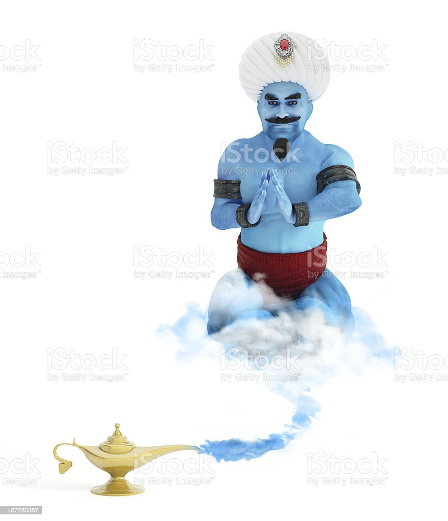 Magic lamp with a genie stock photo