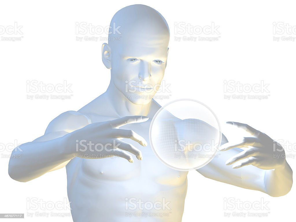 Magic man in hypnotic pose with ball royalty-free stock photo