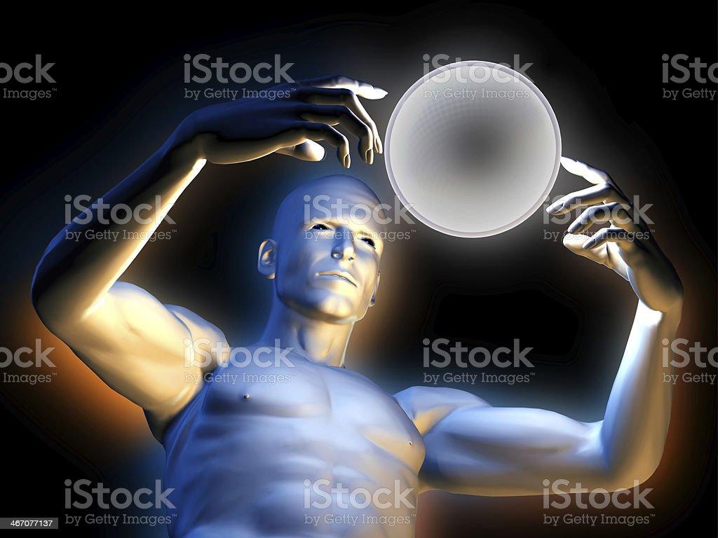 Magic man with hypnotic ball royalty-free stock photo