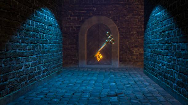 mittelalterliche Magie Taste 3d Illustration – Foto