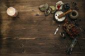 Magic paranormal table. Witch doctor. Alternative medicine. Herbal medicine. Shaman. Druid. Magic items.