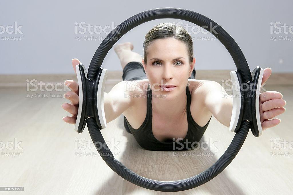 magic pilates ring woman aerobics sport gym royalty-free stock photo