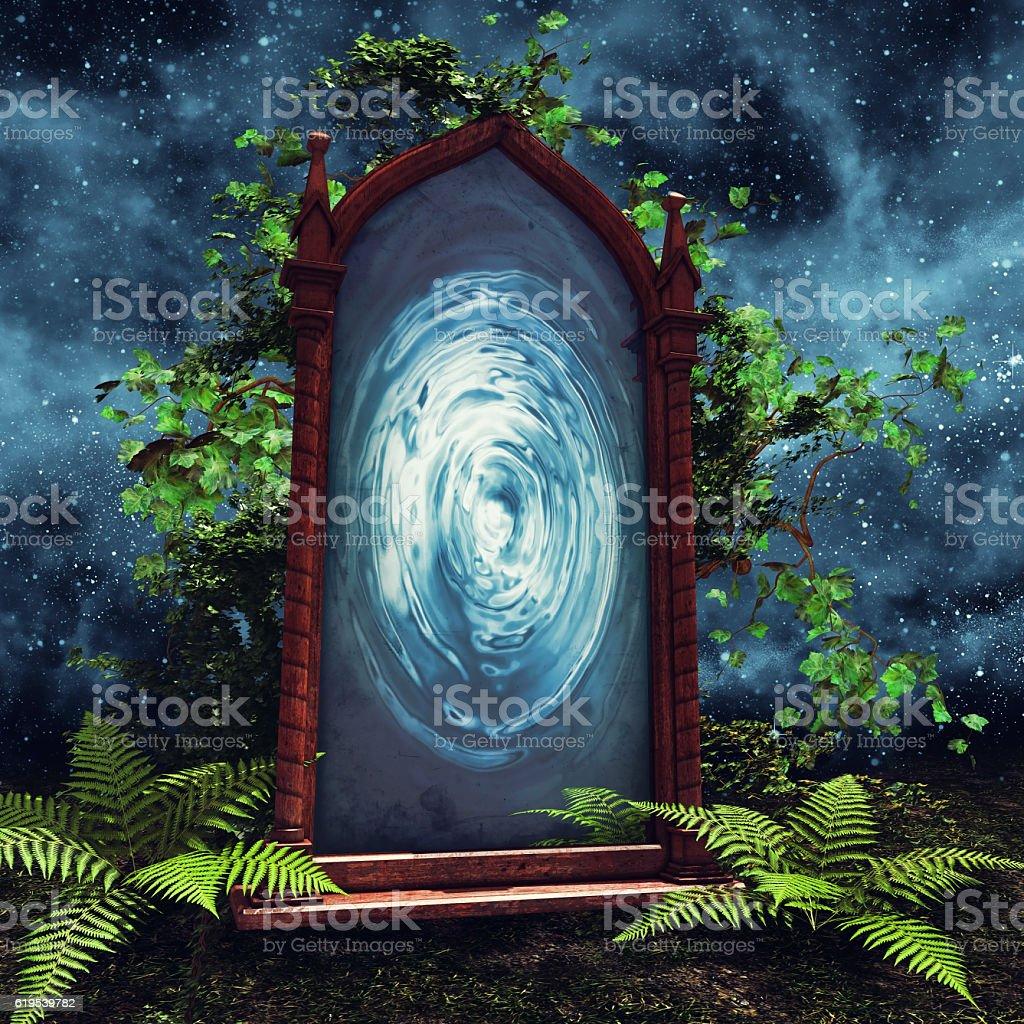 Magic portal with green plants stock photo