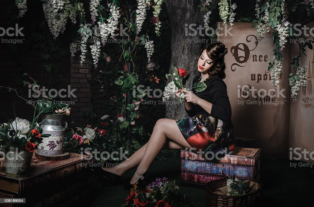 Magic portrait of romantic beautiful girl. Creative concept fantasy stylization. - foto de stock
