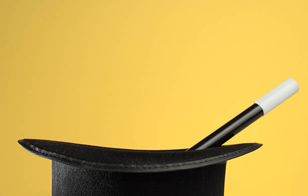 Magic Props on Yellow with Space for Copy stock photo
