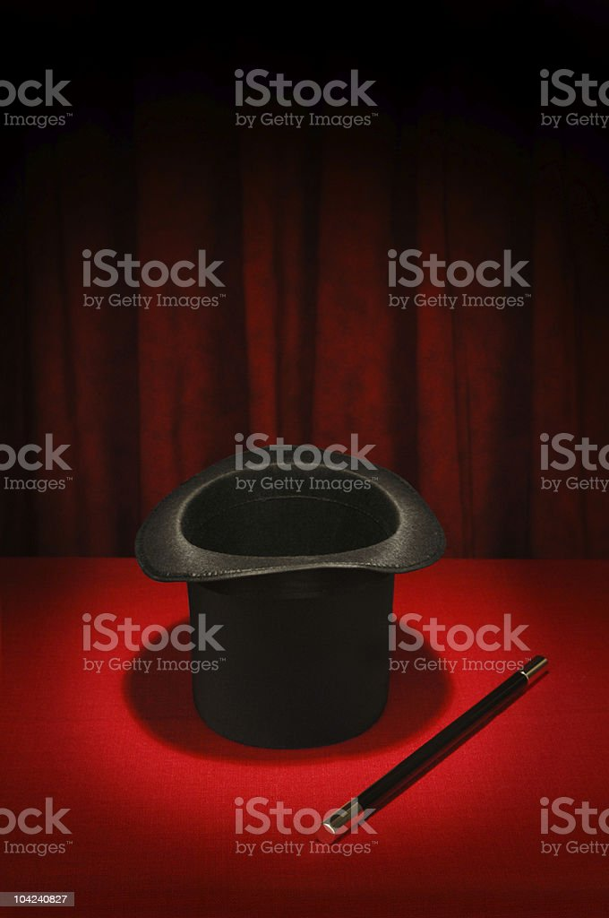 Magic Series - Hat and Wand stock photo