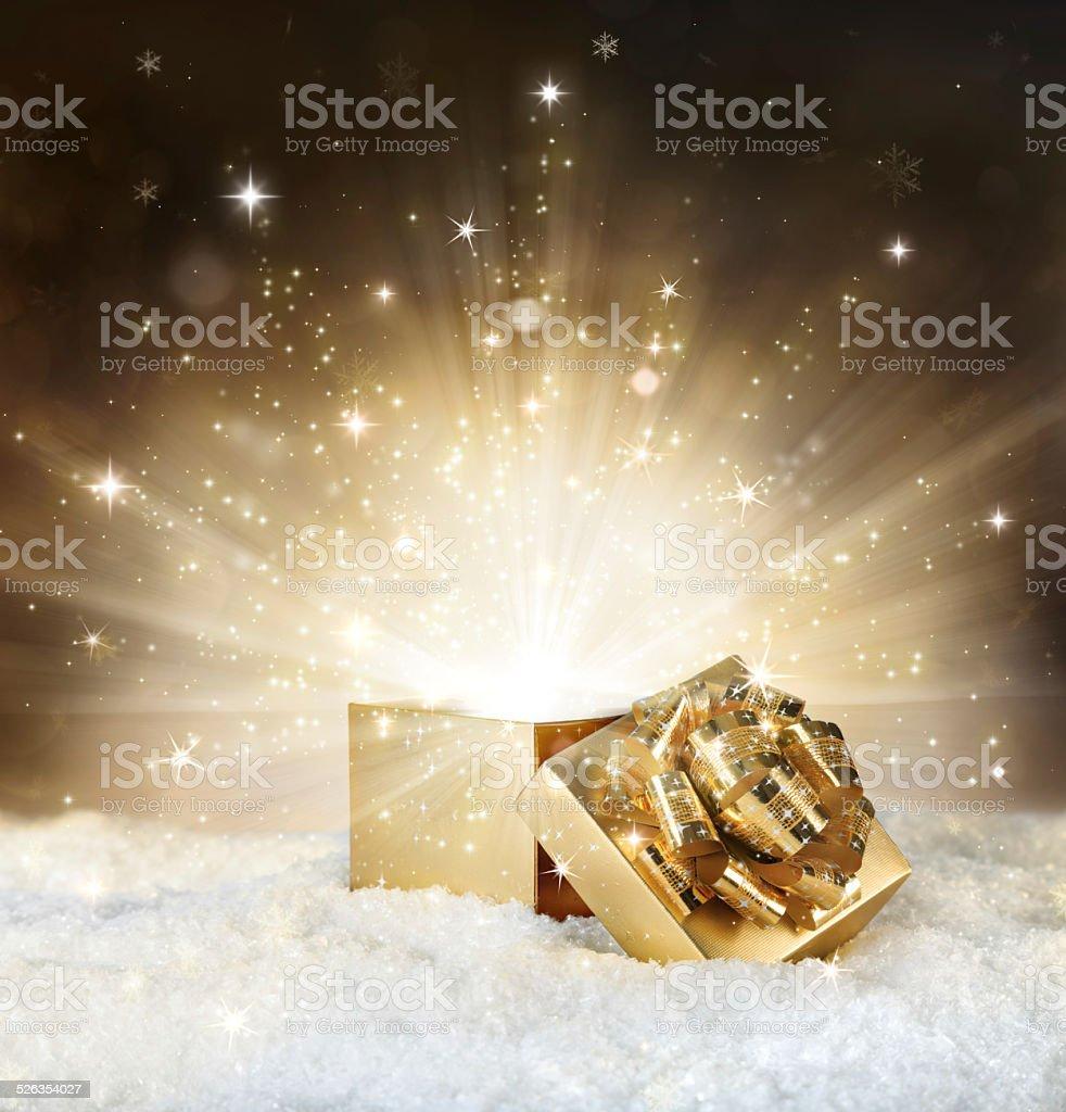 magic shining of christmas gift stock photo