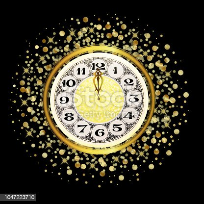 istock Magic shiny gold watch on a black background 1047223710