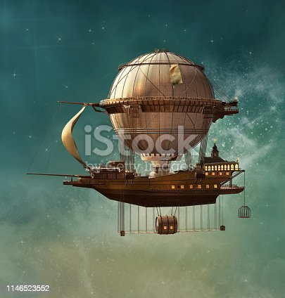 Hot air balloon in a steampunk style taking a boat across the sky - 3D illustration