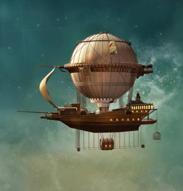 magic steampunk luchtschip - steampunk stockfoto's en -beelden