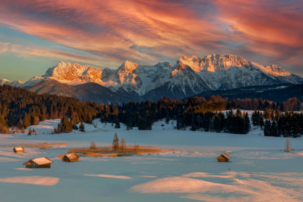 Magic Sunrise at Alpine Lake Geroldsee - view to mount Karwendel, Garmisch Partenkirchen stock photo