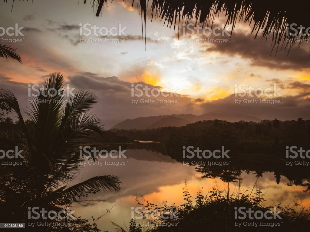 Magic sunset stock photo