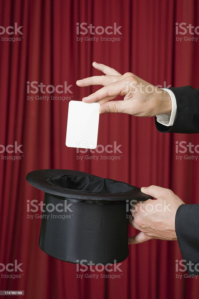 Magic trick with white card and top hat stock photo