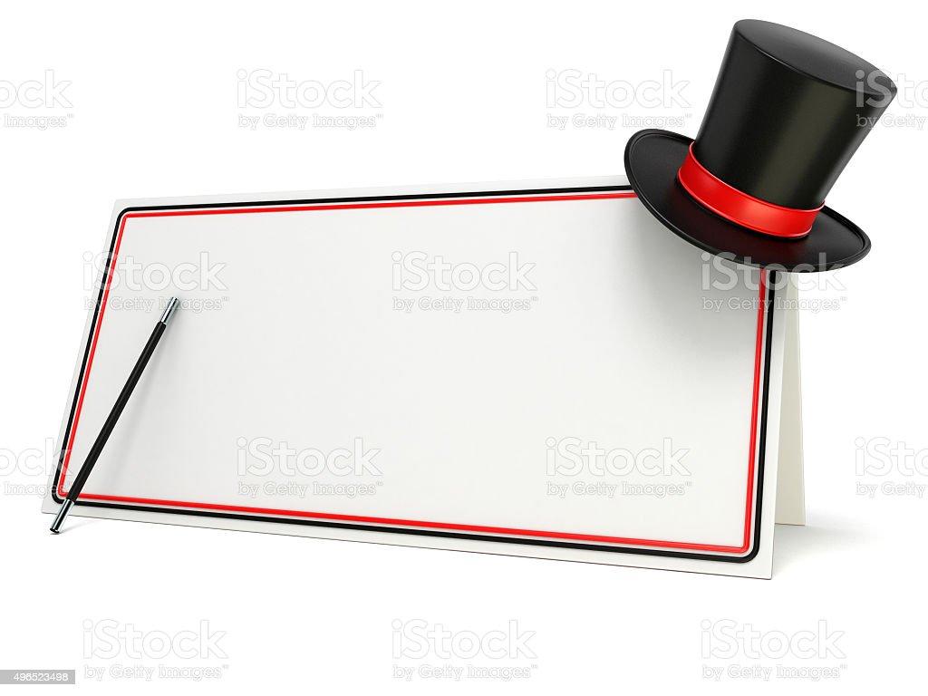 af733fd8df420 Varita mágica y sombrero en blanco con bordes de planchar foto de stock  libre de derechos