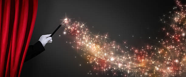 magic wand creates the illusion - circus background stock photos and pictures
