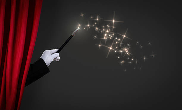 magic wand on stage - circus background stock photos and pictures
