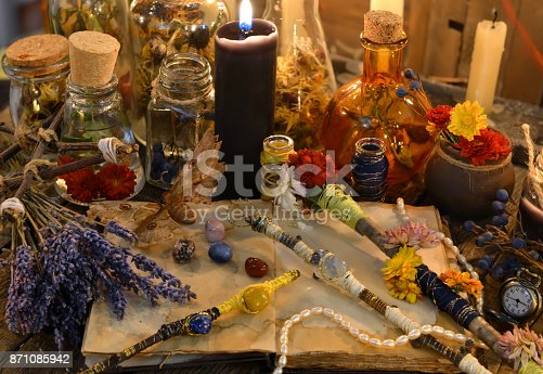 811119304 istock photo Magic wands, open diary book, lavender flowers and black candle 871085942