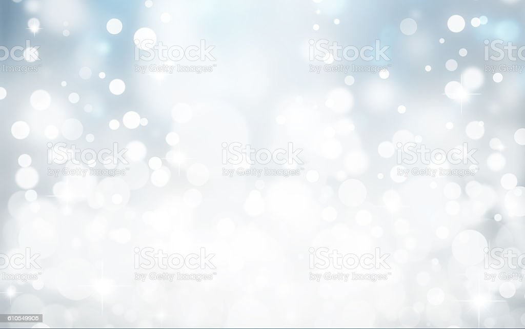 Magic white and blue bubbles and glitters stock photo