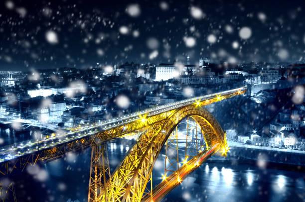 Magic winter night in Porto, Portugal stock photo