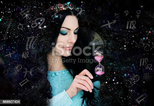 istock Magic witch and zodiac signs 868907404