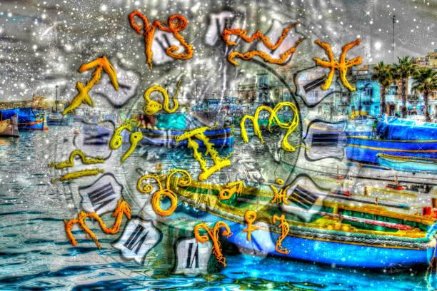 magische tierkreiszeichen - sprüche kalender stock-fotos und bilder