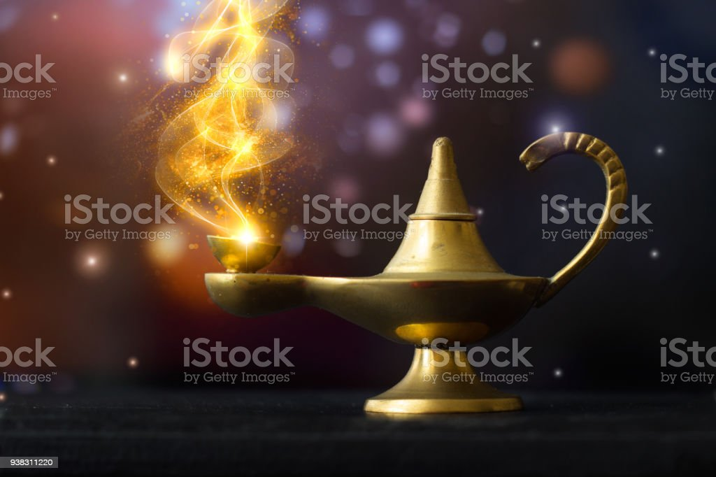Magical Aladdin Lamp With Golden Glittery Smoke Coming Out