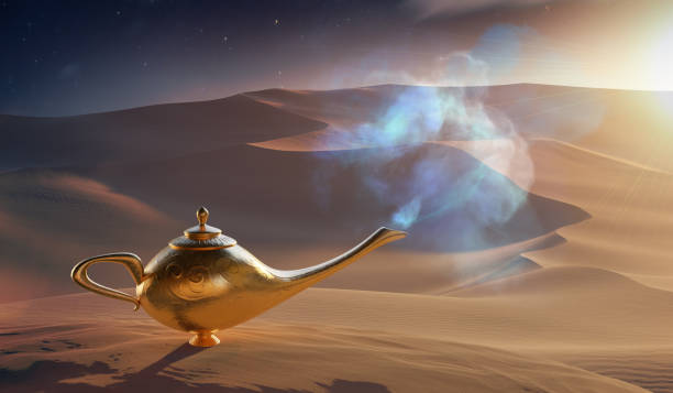 Magical Aladdin oil lamp with genie in desert. 3D rendered illustration. stock photo