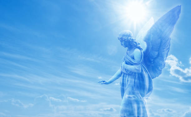 Magical angel in heaven stock photo