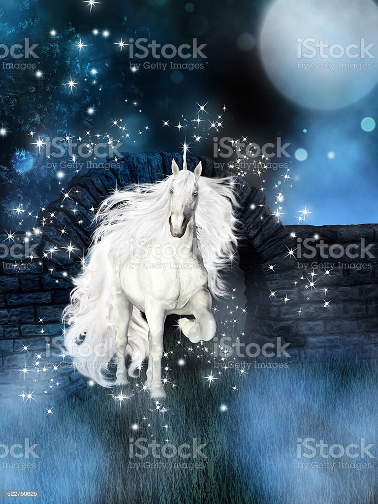 magical background with white unicorn stock photo